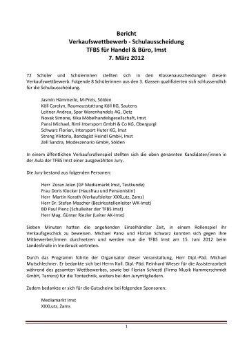 Bericht Verkaufswettbewerb - Schulausscheidung ... - Handel & Büro