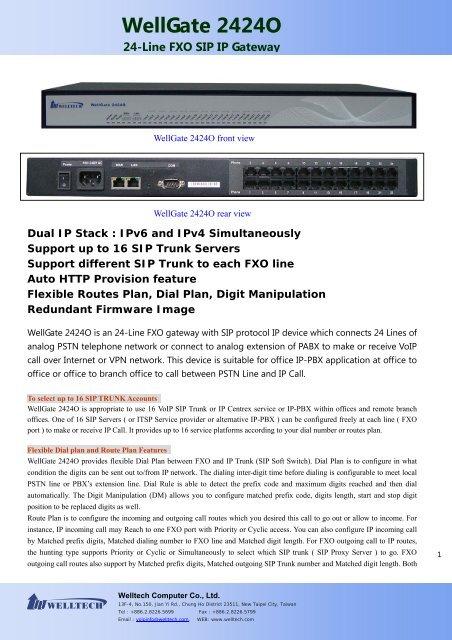 WellGate 2424O 24-Line FXO SIP IP Gateway - Welltech