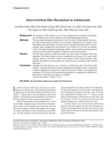Intervertebral Disc Herniation in Adolescents