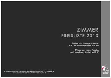 Zimmerpreise 2010 - Hotel Eiger Grindelwald