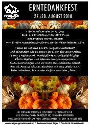 Erntedankfest Flyer - Hotel Eiger Grindelwald
