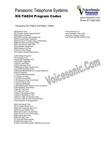 Panasonic s dbs 616 programming manual.