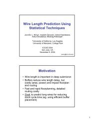 Wire Length Prediction Using Statistical Techniques Motivation