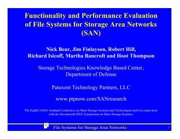 Functionality and Performance Evaluation of File ... - PTP, LLC
