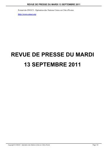 REVUE DE PRESSE DU MARDI 13 SEPTEMBRE 2011 - Onuci