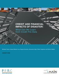 CREDIT AND FINANCIAL IMPACTS OF DISASTER: - PERC
