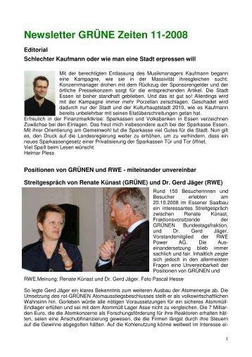 Newsletter GRÜNE Zeiten 11-2008 - Die Grünen Essen