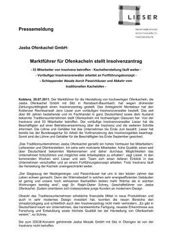 20.07.2011 Hersteller Jasba Ofenkachel insolvent - Lieser ...