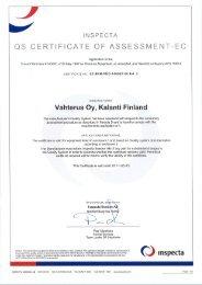 lNSPECTA Q8 CERTlFlCATE OF ASSESSMENT-EC - Vahterus Oy