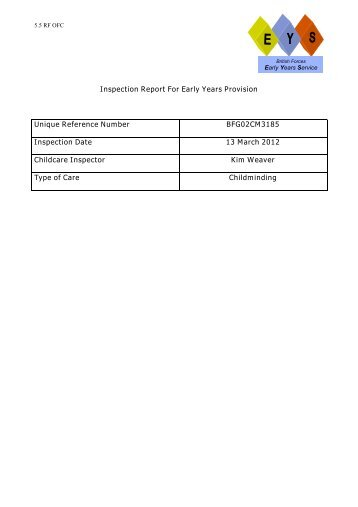 Inspection Report For Early Years Provision Unique Reference ...
