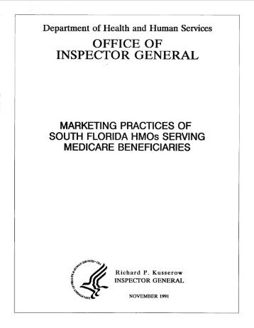 Marketing Practices of South Florida HMOs Serving Medicare ...