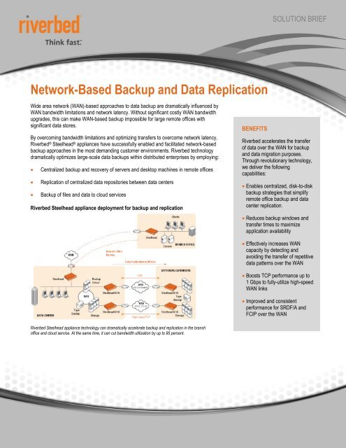 Network-Based Backup and Data Replication - Riverbed