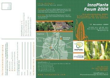 Innoplanta Forum 2004: Programm, Anmeldung und ... - transGEN