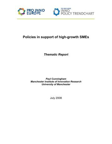 Thematic Report July 2008: High Growth SMEs - PRO INNO Europe