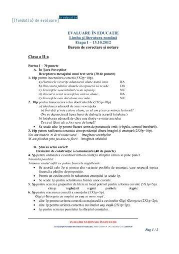 2. barem - Fundatia de Evaluare in Educatie