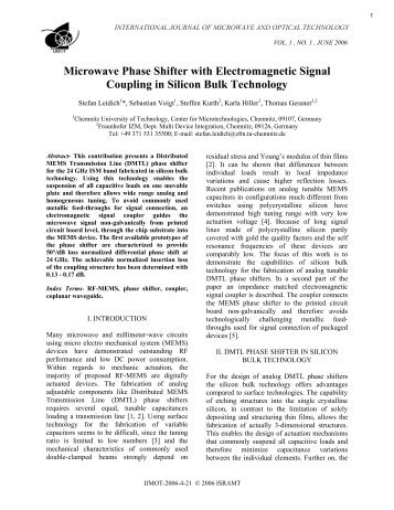 Microwave Phase Shifter with Electromagnetic Signal ... - Ijmot.com