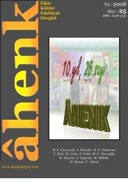 Fikir Kültür Edebiyat Dergisi Yıl : 2008 Sayı : 25 - Ahenk Dergisi