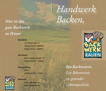 Handwerk Backen. - Backwerk Rauen