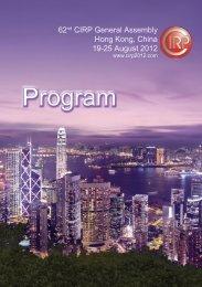 Program - 62nd CIRP General Assembly Hong Kong, China. 2012