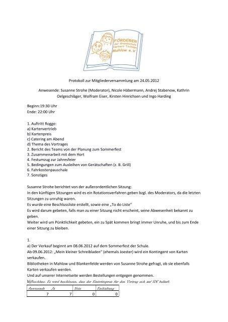 Protokoll zur Mitgliederversammlung am 24.05.2012 Anwesende ...