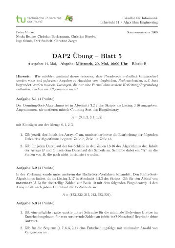 DAP2¨Ubung – Blatt 5 - TU Dortmund