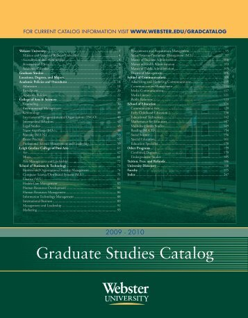 Webster University Graduate Catalog