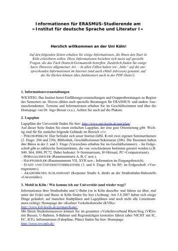 Institut für deutsche Sprache und Literatur I - Zentrum für ...