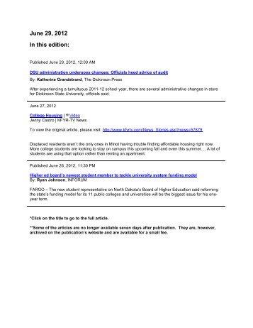 Media Coverage Summary 06-29-2012 - North Dakota University ...