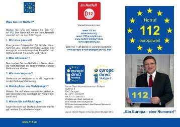 Ein Europa - eine Nummer: 112-FLYER - Europe - Direct Stuttgart
