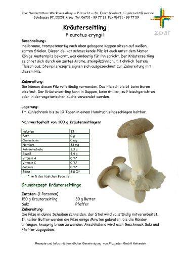 Rezepte und Info Kräuterseitling - ZOAR