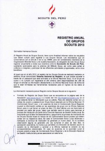 REGISTRO ANUAL DE GRUPOS SCOUTS 2013 - Scouts del Perú