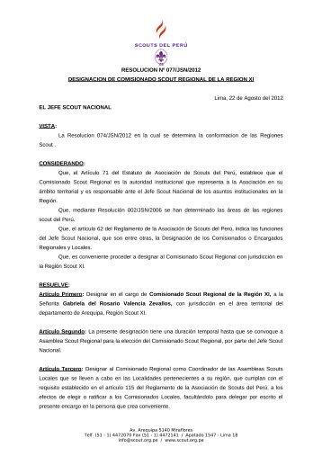 Res 077- 12 DESIGNACION DE COMISIONADO ... - Scouts del Perú