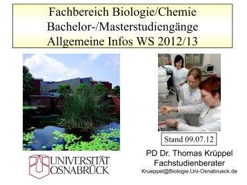 Fachbereich Biologie/Chemie Bachelor-/Masterstudiengänge ...