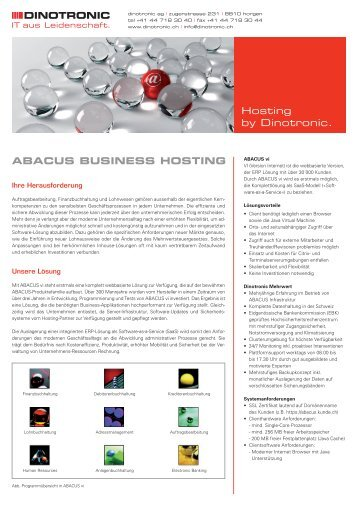 Hosting by Dinotronic. ABACUS BUSINESS HOSTING - Dinotronic AG