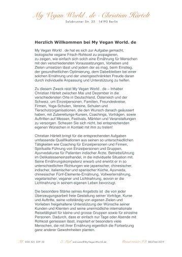 Herzlich Willkommen bei My Vegan World. de