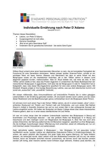Individuelle Ernährung nach Peter D´Adamo - 4 Blutgruppen ...