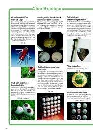 Club-Boutique Golfartikel, Logo Golfbälle und Golf Geschenke
