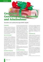 Geschenke an Geschäftspartner, Patienten und Arbeitnehmer