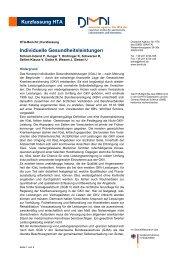 Kurzfassung HTA Individuelle Gesundheitsleistungen - DIMDI