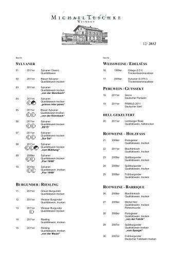 Unsere aktuelle Weinkarte als PDF - Weingut Michael Teschke