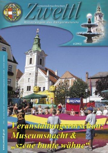 Gemeindenachrichten Zwettl 4/2003 (3,33 MB)