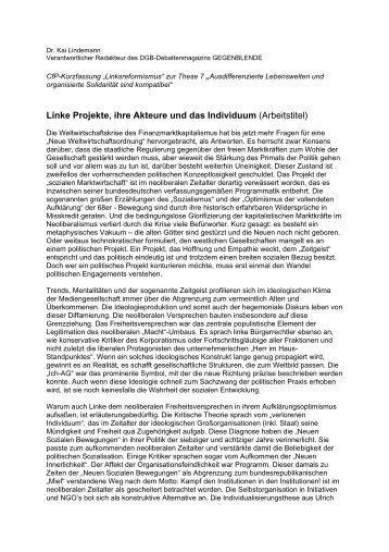 Linke Projekte, ihre Akteure und das Individuum ... - Linksreformismus