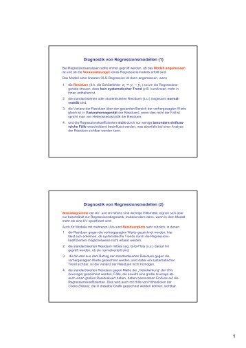 Diagnostik bei Regressionsmodellen
