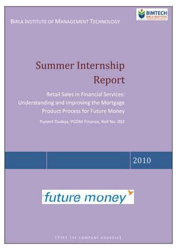 finance internship report