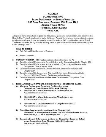 June 14, 2012 agenda - the Texas Department of Motor Vehicles .