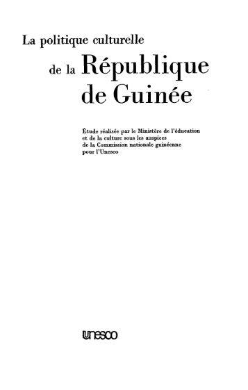 La Politique culturelle de la République de ... - unesdoc - Unesco