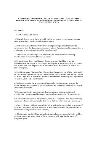 Bamako Convention on the Ban of the Import - African Union