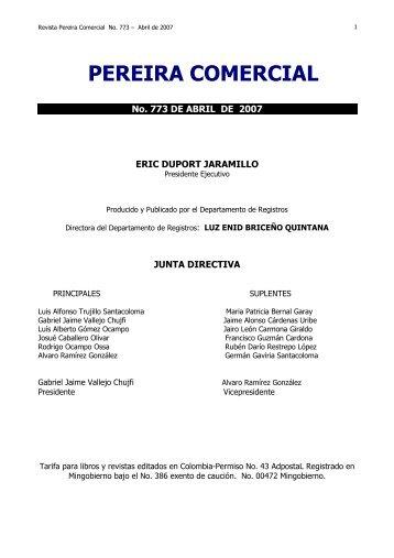PEREIRA COMERCIAL - No. 773 DE ABRIL - Cámara de Comercio ...