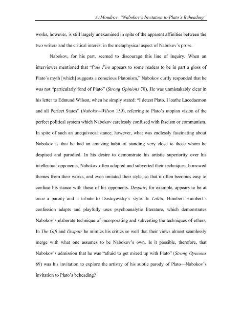 Nabokov's Invitation to Plato's Beheading