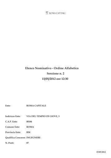 Elenco Nominativo in ordine alfabetico - Comune di Roma